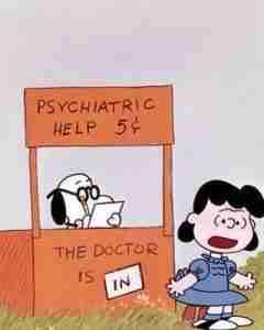 vignetta co snoopy e lucy psychyatric help - the doctor is in